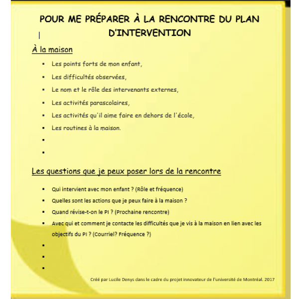Liste pour le Plan d'intervention -parents