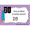 Cartes à tâches: Lire et écrire des nombres
