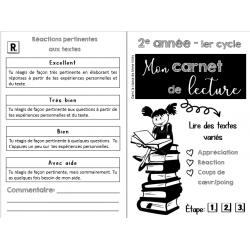 Carnet de lecture 1,2 et 3e cycle