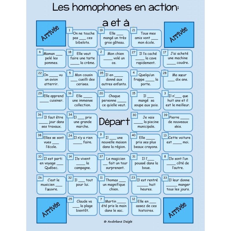 Jeu des homophones a et for Dans homophone