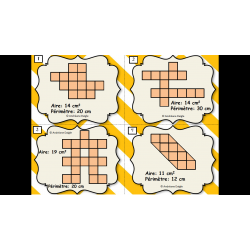 Cartes à tâches - Aire, périmètre et fractions
