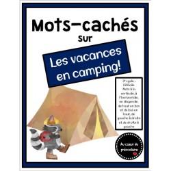 Mots-cachés : vacances en camping, 3e cycle