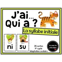 Jeu '' J'ai qui a '' syllabe initiale (illustrée)