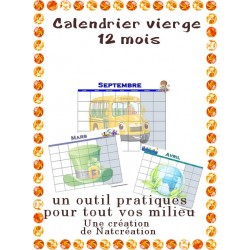 calendrier vierge 12 mois