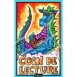 """Affiche """" Coin de lecture """" Dragon"""