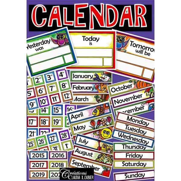 calendrier en anglais  calendar