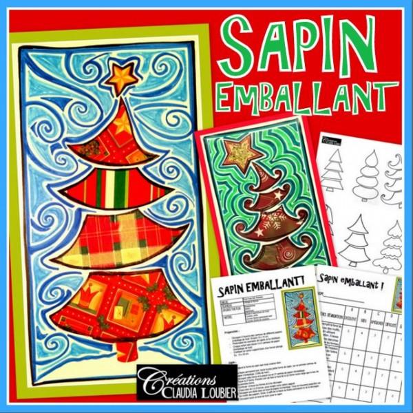 Sapin emballant ! Carte de Noël, arts plastiques