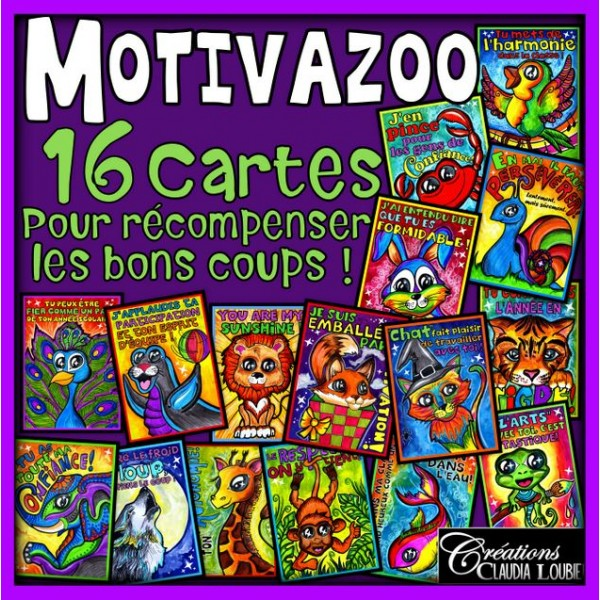 Collection de cartes récompenses : MotivaZoo