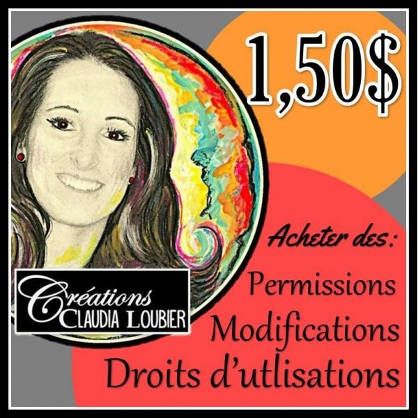 1,50$ : Achat droits, permissions ou modifications