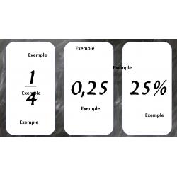 Carte fraction/décimal/pourcentage