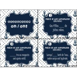 Cartes à tâches - homophones on/ont