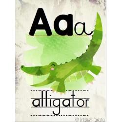 26 affiches alphabet animaux aquarelle