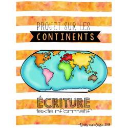 Les continents - situation d'écriture