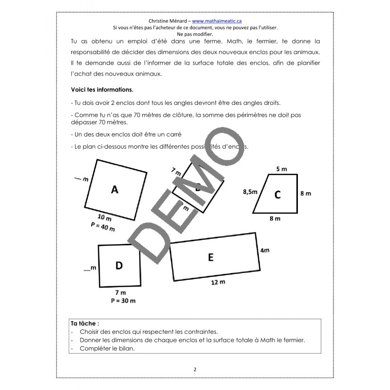 cd1 math secondaire 1 examen pratique