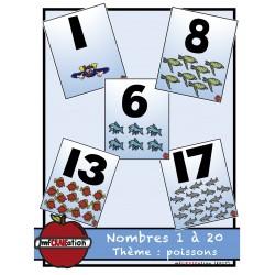 Poissons-  Affiches des nombres de 1 à 20