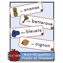 Fruits et légumes - Mots-étiquettes