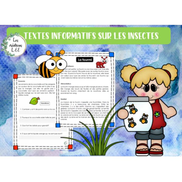 Textes informatifs sur les insectes