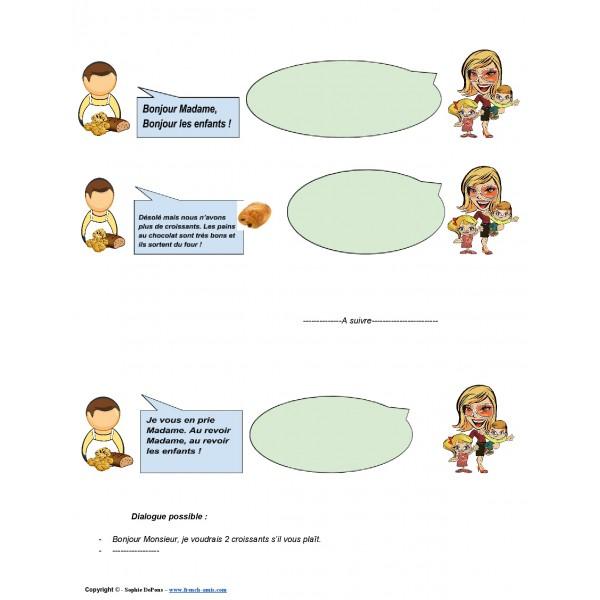 Dialogue à compléter - à la boulangerie