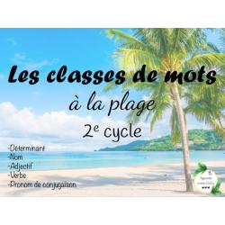 CAT - Les classes de mots à la plage 2e cycle
