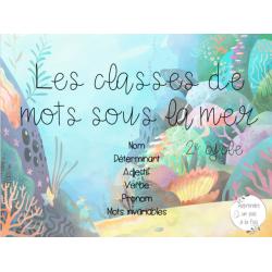 Les classes de mot sous la mer 2e cycle