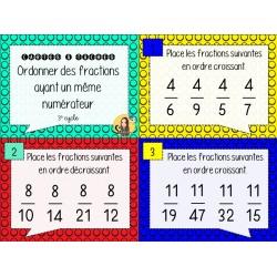 CAT - Ordonner des fractions même numérateur
