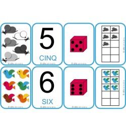 Jeu de cartes des nombres jusqu'à 10