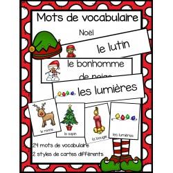 Cartes de vocabulaire - thème de Noël