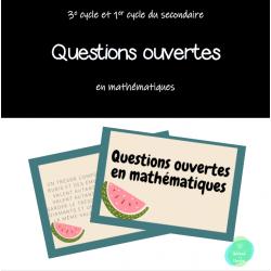 Cartes à tâches - Questions ouvertes en maths