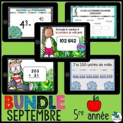Bundle 5e année septembre mathématique Boom Cards