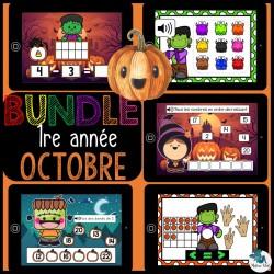 Bundle 1re année octobre mathématique Boom cards