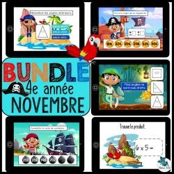 Bundle 4e année novembre mathématique BOOM CARDS