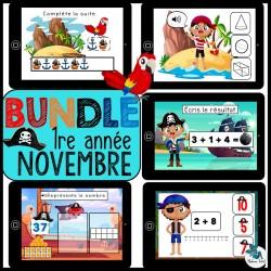 Bundle 1re année novembre mathématique BOOM CARDS