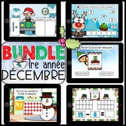 Bundle 1re année Décembre mathématique BOOM CARDS