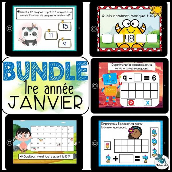 Bundle 1re année Janvier mathématique BOOM CARDS