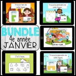 Bundle 4e année Janvier mathématique BOOM CARDS