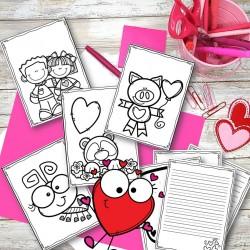 Carte de St-Valentin à colorier