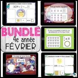 Bundle 4e année février mathématique BOOM CARDS