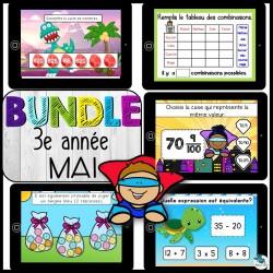 Bundle 3e année mai mathématique BOOM CARDS