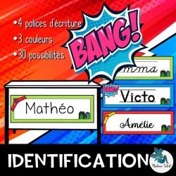 Étiquette d'identification Super-héro