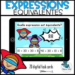 Expressions équivalentes en 2e année Boom Cards