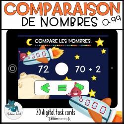 Comparaison de nombres 0-99 Boom Cards