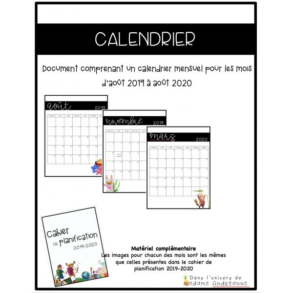 Ensemble de calendriers mensuels 2019-2020
