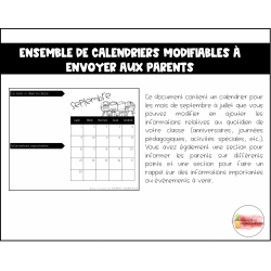 Calendriers modifiables à envoyer aux parents
