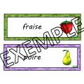 Fruits & légumes - Mots-étiquettes