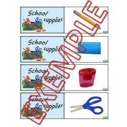 school supplies memory/association game