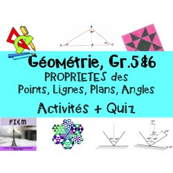 Propriétés des angles, lignes, points: activités