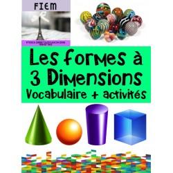Les formes à 3 dimensions, activités