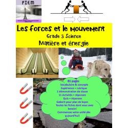 Les forces et mouvement, Science Gr.3, 81 fiches