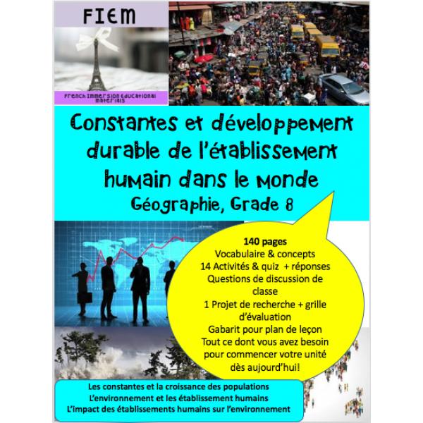 Constantes et développement durable, Géo 8