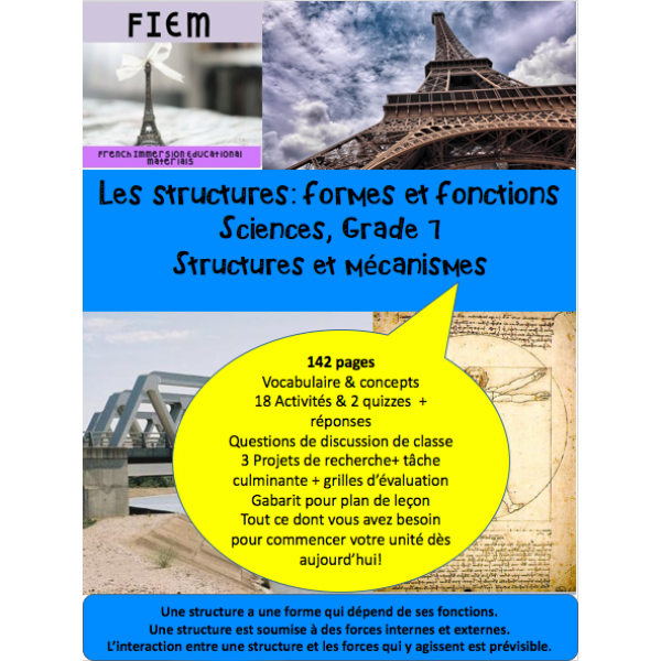Structures: formes & fonctions, Gr7 142 fiches